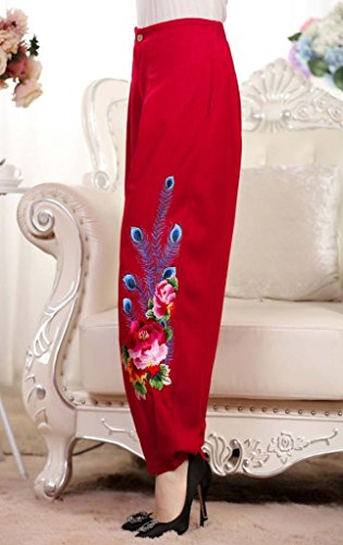 Bigood Pantalon Bouffant Femme Lin Coton Grande Taille Haute Broderie Casaul Elégant Rouge