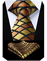 BIYINI Cravate a carreaux pour hommes Mouchoir de mariage cravate & pochette
