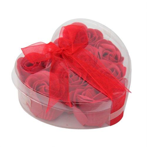 Savon de Rose 9 Boutons Fleurs Rouge Romantique Cadeau Femme Fille Baigne Bain