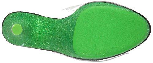 Pleaser Damen Adore-701uvg Sandalen Clr/Neon Green Glitter