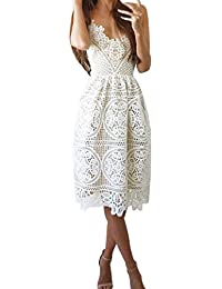 Kleid damen Kolylong® Frauen Elegant Spitze Ärmelloses Kleid Knielang  Spitzenkleid Festlich Rückenfrei Kleider Brautjungfer Hochzeit 42cf72d36d