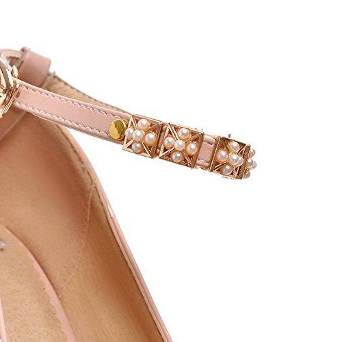 AgooLar Femme à Talon Haut Matière Souple Couleur Unie Boucle Rond Chaussures Légeres Rose