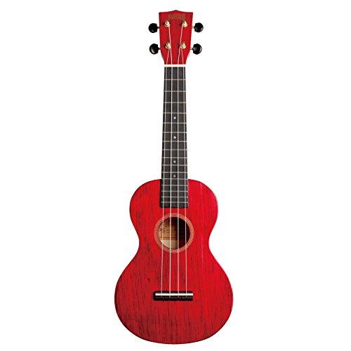 Mahalo Hano - Ukulele da concerto, colore: Rosso/Trasparente