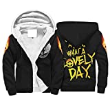 Eceitti Mad Max Fury Road What A Lovely Day 3D Graphic Printed Full Zip Polar Fleece Jacket with Front Pocket for Son Bianco XXL
