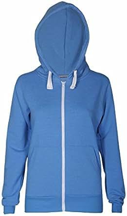 Womens New Long Sleeve Ladies Sweatshirt Hoodie Hoody Adjustable Cord Casual Front Zip Hooded Jacket Top Turquoise Size 8 (S)