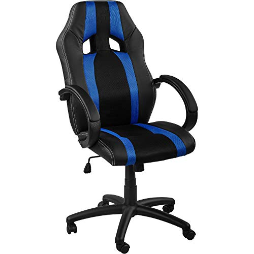 Maxstore RACEMASTER® Racing Bürostuhl GS Series Stripes Gaming Chair Gamer Stuhl in 20 Varianten Drehstuhl Gaslift SGS geprüft Schreibtischstuhl Wippmechanik Blau
