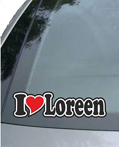 INDIGOS UG - Aufkleber/Autoaufkleber - I Love Heart - Ich Liebe mit Herz 15 cm - I Love Loreen - Auto LKW Truck - Sticker mit Namen vom Mann Frau Kind (Blume 1960 Kind)