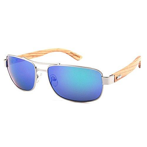 Einfache Brille Klassische Metallrahmen Holz Bein Unisex Polarisierte Sonnenbrille Farbige TAC Objektiv UV Schutz Handwerk Für Männer Frauen (Farbe : Grün)