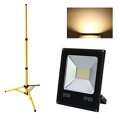 Hengda® 50w LED Fluter SMD Flutlicht IP65 mit Teleskop Stativ Outdoor Gelb Ständer
