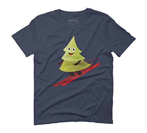 Happy Pine Tree On Ski Men's Graphic T-Shirt - Design By Humans Navy