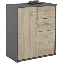 IDIMEX Buffet Remy, Commode Meuble de Rangement avec 2 tiroirs et 2 Portes, en mélaminé Gris Mat et décor chêne Sonoma