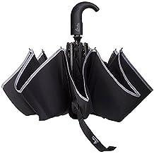 Asamoom Riflettente Stripe 60 MPH Ombrello Antivento, Doppia Telo 300T Tessuto Compatto Da Viaggio Pieghevole Automatico Ombrello Nero