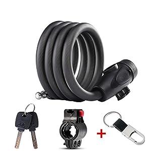 Candado para bicicleta,Candado de cadena de alta calidad con llave, el mejor candado de cable para bicicleta al aire libre, ciclismo, scooter(1.2M)