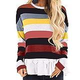 JMETRIC Damen Langarmshirt| Langarm Shirt | Casual T-Shirts|Casual T-Shirts| Bluse |Gestreifte Ziernaht Basic Rundhalsausschnitt Kontraststreifen