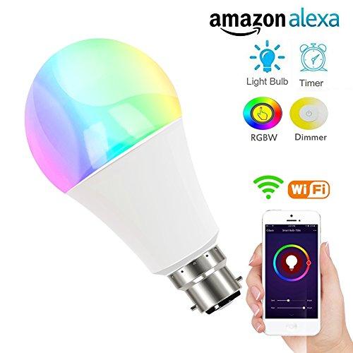 WiFi Smart Buld LED Bunte Leuchte dimmbar Buld, 7W RGB B22Smart Beleuchtung Arbeiten mit Amazon Alexa und Google Home, Smartphone Fernbedienung (IOS & Android) keine Hub erforderlich, u5fun