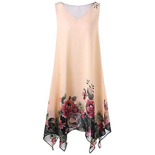 KIMODO Damen Kleider Blumenmuster Frauen Kleider Übergröße Minikleid Irregulär Saum Partykleid Abendkleid Chiffon Sommer Ärmellos Strandkleid Mode 2019