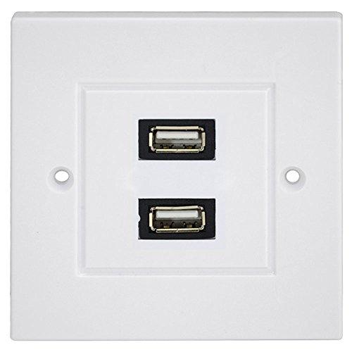 Wandplatte Panel USB 2Buchse 2.0 weiss wanddose Tafel Netzkabel und Mehrfachsteckleisten Dual Tv Wall Plate