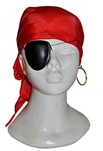 Faschingsfete Piraten Kostüm Kopftuch Augenklappe Ohrring Bandana, Mehrfarbig