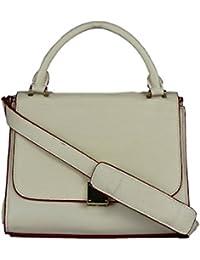 ISweven Premium PU Women's Handbag With Adjustable Strap Beige Colour Shoulder Bag | Purse For Womens/Girls -...