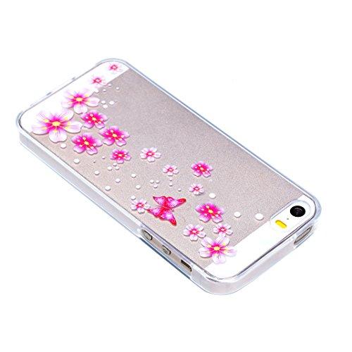 iPhone SE Hülle, Asnlove 2 Stücks Transparent TPU Silikon Schutz Handy Hülle Case Tasche Etui Bumper Buntes Muster für Apple iPhone 5 5S SE Case Cover - Lace Blumen, blaue Blätter Color-5