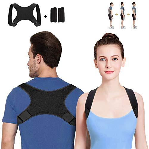 Geradehalter zur Haltungskorrektur Rückenstütze Rückenbandage Haltungstrainer Haltungskorrektur Rücken Damen und Herren-Größenverstellbar(mit 2 Schulterpolster)