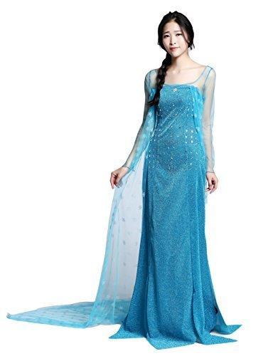 Imagen de disfraz elsa princess para adulto vestido largo frozen dress para mujer disfraz elegante para fiestas