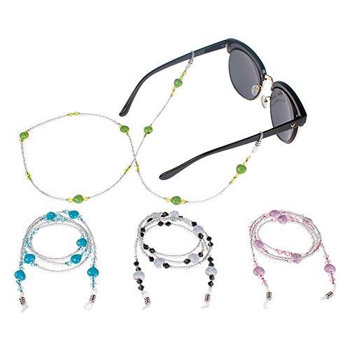 Soleebee 4 Stück Universal Schnur Mode Liebe Herz Glasperlen Brillenhalter Ketten Brillenband / Brillenkette / Brillen Cord / Sonnenbrille kette Hals Lanyard / Brillenhalter Hals Cord Strap