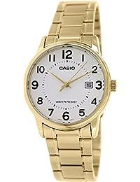 CASIO MTP-V002G-7 - Reloj de pulsera, para hombre, color blanco y dorado