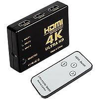 HDMI Switch Hub 4 K UHD, HDMI Conmutador automáticamente with IR Remote, Support HDCP 3D, CEC, ARC, Full HD 1080p, Ultra HD 2160p, resolución: hasta 4 K a 30 Hz for PC, Laptop, Xbox
