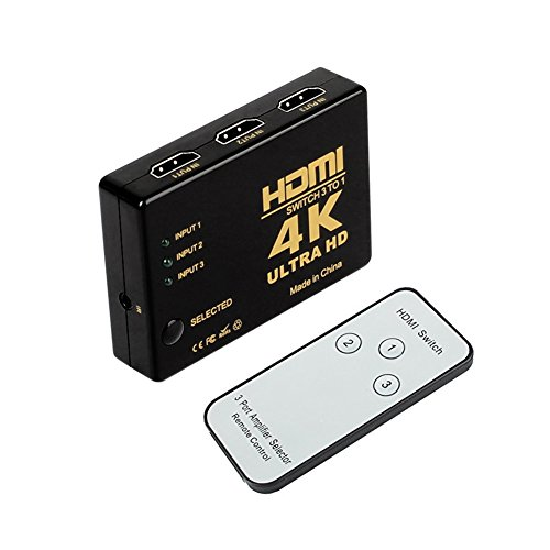 HDMI Switch Hub 4K UHD,3 Ports Switcher Selector 3 in 1 out HDMI Umschalter automatisch with IR Remote,Support HDCP 3D,CEC,ARC,Full HD 1080p,Ultra HD 2160p,Auflösung: bis 4k bei 30Hz for PC,Laptop,XBOX,HDTV,Monitor,HD Projector and More