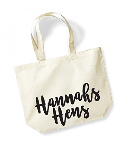 Personalised Name Hens - Large Canvas Fun Slogan Tote Bag Natural/Black