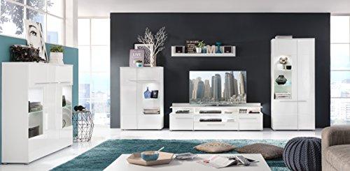 trendteam VIS32001 TV Möbel Lowboard Weiß Hochglanz + Wandboard Weiß Matt, Lowboard BxHxT 180x36x45 cm, Wandboard BxHxT 130 x 22 x 18 cm - 4