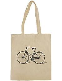 Lona de algodón bolsa de la compra con Ilustración retra de la bici del vintage negro impresión.