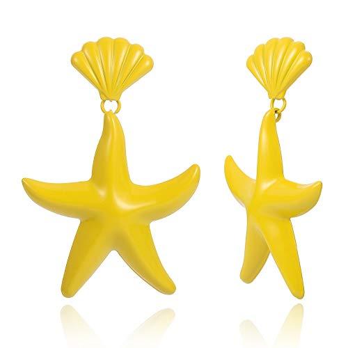RQZQ Körper Kette Trendy Seestern Ohrringe hellgelb Sommer Anweisung Ohrringe hängen Ohrringe Candy Farbe Mode Kostüm Party - Arm Candy Kostüm