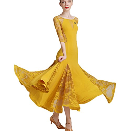 Standard Ballsaal Tanz-Outfit Für Frauen Trainieren Performance Sexy Rückenfrei Moderne Walzer Tango Spitze Tanzkleider, Ginger, L