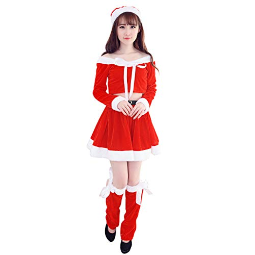 Lazzboy Karneval Kostüme Winter-Weihnachtsfeier der Frauen Cosplay-Lange Hülse mit Kapuze Tänzersets(M,Rot)