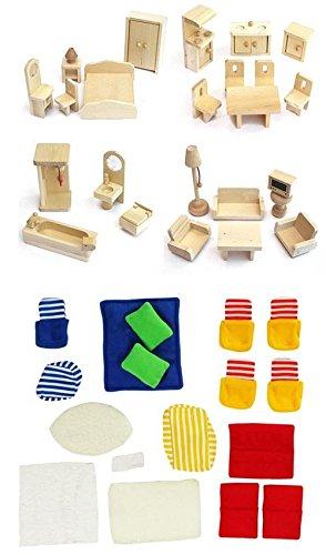 Möbelset für Puppenhaus FREDA Holz 28 Teile + Baby + Bettchen + Bezüge