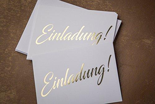 Einladungskarte gold, 10 Karten inkl. 10 Umschlägen, stilvolle schlichte Einladung für Hochzeit, Geburt, Baby, Taufe, Geburtstag, Jubiläum