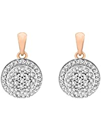 Pave Prive Women's 9ct Pink Gold Round White Diamonds Double Circles Drop Earrings