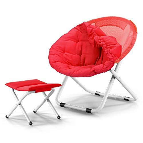 WMM-folding chair Abnehmbares Baumwollbezug-Design, stilvolles und bequemes, rundes Sofa für Erwachsene, zusammenklappbar, sowie Klapphocker (Farbe : Rot) -