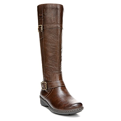 Naturalizer Renna Damen Rund Kunstleder Mode-Knie hoch Stiefel Dk Brown