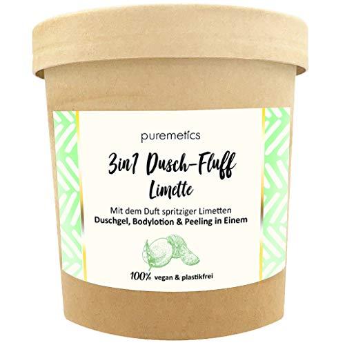 puremetics 3in1 Dusch-Fluff (250g)   Duschgel, Peeling und Lotion in Einem   100{8ad01f57266ac73914b2f9835c8e517b7600573487d96267aa4d83c3b7d22bd2} vegan & plastikfrei   pflegend, hautverfeinernd & glättend   ohne Mikroplastik   Meersalzpeeling (Limette)