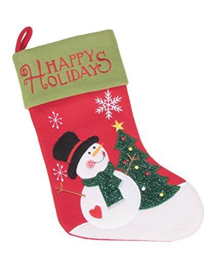 Schneemann mit Weihnachtsbaum happy holidays Filz Weihnachten Weihnachtsstrumpf-40,6cm (Anzug Rudolph The)