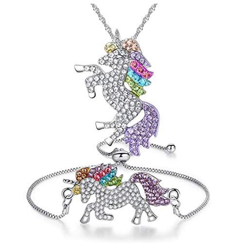 Pulsera del Collar De Niñas con El Conjunto De Joyería Arco Iris del Unicornio del Estilo Cristalino Brillante del Rhinestone Decorativo