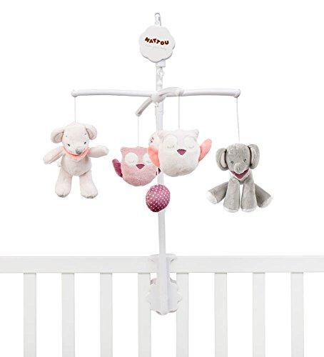 Nattou Mobile mit Musik für Babybett, Mädchen, rosa - Adèle und Valentine