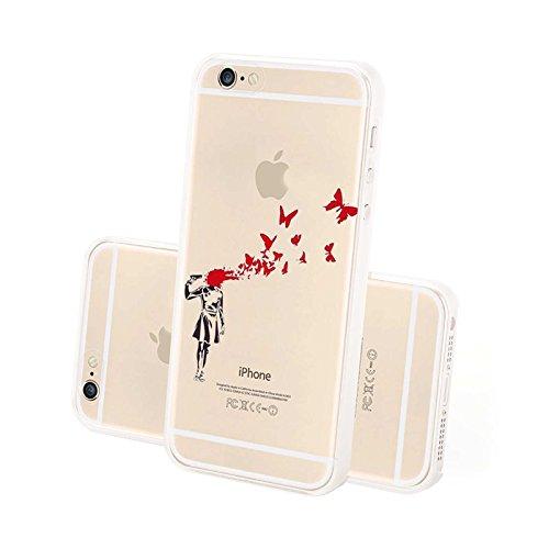 FINOO ® | Iphone 6 / 6S Plus Hardcase Handy-Hülle | Transparente Hart-Back Cover Schale mit Motiv Muster | Tasche Case mit Ultra Slim Rundum-schutz | stoßfestes dünnes Bumper Etui | Kassette schwarz Kopfschuss Schmetterlinge