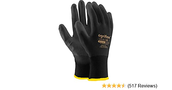 - White Nylon PU coated work gloves for builders 7 etc size 7 10 Pairs 10 pairs, SMALL By ASPRO gardeners Size S