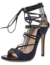 Frauen Damen Schuhe Peep Toe Extreme Stiletto Heels Kreuzband Ausgeschnitten Lace-up Club Hochzeit Sandalen