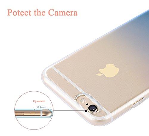 MicBridal® iPhone 6 / 6S/ 6P/ 6SP Hülle Gradient Transparent Farbe Bildserie Weich Silikon Schutzhülle Ultradünnen- Case für Apple iPhone 6 / 6P Schutz Hülle Transparent (Iphone7, 7/7Plus Schwarz) Hellrosa