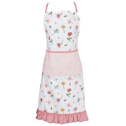 Clayre & Eef ASD41 Kochschürze/Küchenschürze Rosa/Orange/Weiss Romantisch Blumen Design 100% Baumwolle70*85 cm (Orange-blumen-tischdecke)